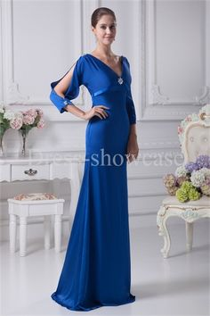 China Blue Sweep Train Silk-like Satin Mother of the Bride Dress Wholesale Price: US$ 149.99