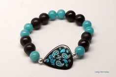 Turquoise Paisley Guitar Pick Bracelet by RockSteadyCouture,