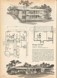 Vintage House Plans, Mid Century Homes Design D 1103