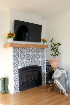 Boost your Fireplace Surround – Real cement tiles VS creative DIY ideas – get the same look for less - Modern Fireplace Update, Fireplace Remodel, Fireplace Mantle, Living Room With Fireplace, My Living Room, Living Room Decor, Tiled Fireplace, Fireplace Fronts, Fireplace Makeovers