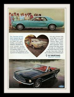 Black convertible Mustang - Oh Yea Baby! Mustang Fastback, Ford Mustang, Vintage Magazines, Vintage Ads, 1967 Mustang Convertible, Candy Apple Red, Poster Ads, Pony Car, Retro Ads