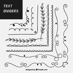 Pack of hand drawn ornaments for text free vector – – … - Verzierungen Ideen Bullet Journal Writing, Bullet Journal Notebook, Bullet Journal Ideas Pages, Bullet Journal Inspiration, Molduras Vintage, Border Templates, Templates Free, Doodle Borders, Floral Doodle