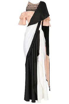 Black And White Saree with Ruffle Blouse Set available only at Pernia's Pop Up Shop. Black And White Saree with Ruffle Blouse Set available only at Pernia's Pop Up Shop. Indian Dress Up, Indian Gowns Dresses, Indian Wedding Outfits, Indian Outfits, Saris, Indian Designer Outfits, Designer Dresses, Simple Gown Design, Black And White Saree