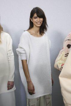 Oversized Fuzzy White Modern Bohemian Sweaters by Chloé Fall 2014 | Backstage