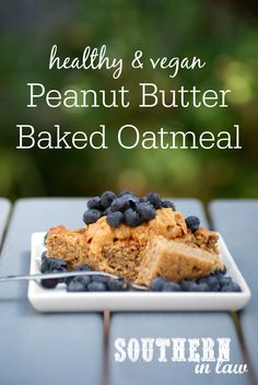 This peanut butter baked oatmeal recipe is just waiting to be smothered with your favourite toppings to create a healthy breakfast recipe that is low fat, Vegan Baking, Healthy Baking, Healthy Chocolate Cookies, Baked Oatmeal Recipes, Healthy Work Snacks, Healthy Breakfasts, Healthy Eats, Healthy Groceries, Healthy Peanut Butter