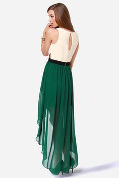 Bottle green hi-low overlapped skirt/dress with a cream eye-hole and cutout top