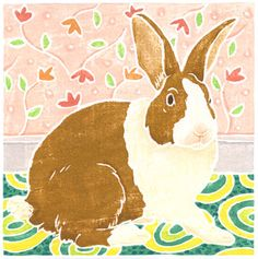Willy Reddick, white line woodblock print: Dutvch Rabbit. The following amazing prints and more art work by Reddick can be seen on her website:   http://www.willyreddick.com/