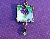 Broken China Jewelry, Pendant Necklace, Colclough Bone China England , Violets purple flowers, Sterling Silver Chain