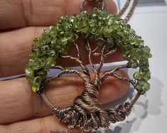 MADE TO ORDER Wire Wrapped Tree of Life Bonsai Pendant Peridot Wire Wrap Handmade Jewelry Beaded Wire Tree Perfectly Twisted Jewelry August