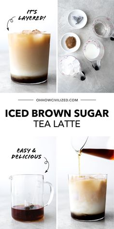 This brown sugar tea latte from Oh, How Civilized is the perfect decadent tea latte! This brown sugar latte is layered with black tea, milk, and brown sugar. It's sweet, refreshing, and so easy to make. #latte #tea #icedtea #easyrecipe Tea Latte, Tea Sandwiches, Milk Tea, Tea Recipes, Iced Tea, Recipe Using, Teas, Afternoon Tea, Brown Sugar