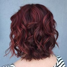 Wavy Brown Bob With Burgundy Highlights