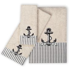 Featuring nautical stripes and exceptional anchor embroidery, this soft, 100-percent cotton towel set will be the perfect addition to your bathroom. This charming, 3-piece Beach Cottage set includes o
