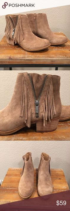 Lucky Brand Suede Booties With Fringe New without box. I haven't worn these. I want to but they are a tad too small for me Size 7. Color is sesame. Inside zipper for easy on and off. Outside zipper is for decor only. Perfect tan wood heel and just the right fringeCute for you Boho Babes in the upcoming seasons. Lucky Brand Shoes Ankle Boots & Booties