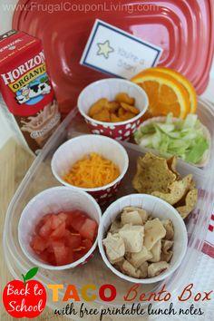 Back to School Taco Bento Box Idea plus FREE Printable Lunch Box Note.
