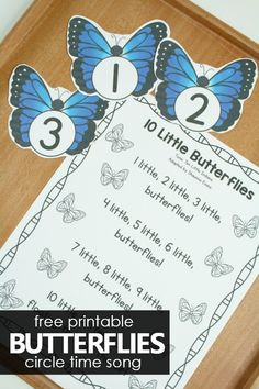10 Little Butterflies Free Printable Preschool Circle Time Song. Spring insect theme activities for preschoolers and toddlers April Preschool, Preschool Themes, Free Preschool, Insect Activities, Spring Activities, Preschool Circle Time Songs, Spring Songs For Preschool, Preschool Fingerplays, Songs For Toddlers