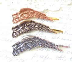 Sterling Silver Plated Dark Angel Wing Hair Pin by NestingPretty