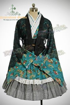 "Wa Lolita, ""Autumn Fan"" Kimono/Yukada Set*Green - getting this soon… Japanese Street Fashion, Asian Fashion, Geisha, Kei Visual, Estilo Lolita, Complete Outfits, Lolita Dress, Lolita Fashion, Gothic Lolita"