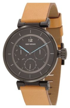 Issey Miyake Chronograph Leather Strap Watch, 39mm available at #Nordstrom