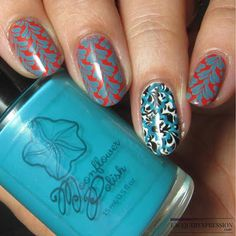 Turquesa - a turquoise stamping creme from Moonflower Polish by @la
