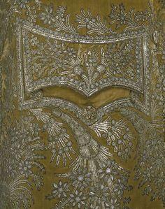 Detail from a silk velvet dress coat, French, 1780s