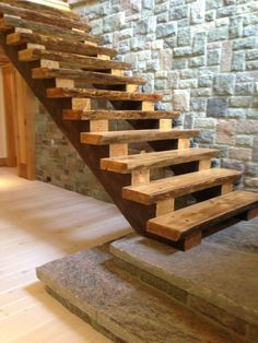 Custom cottage staircase (work in progress)You can find Custom woodwork and more on our website.Custom cottage staircase (work in progress) Cottage Staircase, Rustic Staircase, House Stairs, Staircase Design, Basement Stairs, Hardwood Stairs, Wooden Stairs, Building Stairs, Into The Woods