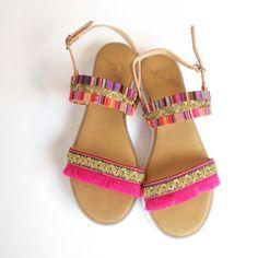 White sole ethnic sandals by Ilgattohandmade on Etsy