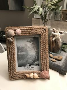 Rustic Jute and Seashell Frame | Etsy