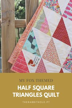 My experience in making a half square triangles quilt with a fox theme! Half Square Triangle Quilts, Rabbit Hole, Quilting Projects, Fox, Pattern, Fabric, Handmade, Half Square Triangles, Scrappy Quilts