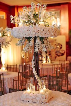 21 Gorgeous Tall Wedding Centerpieces To Impress Your Guests ❤ See more: http://www.weddingforward.com/tall-wedding-centerpieces/ #weddings #decoration
