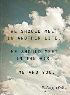 """meet me there? """"We should meet in another life/ We should meet in the air/ Me and you"""" -Sylvia Plath Pretty Words, Love Words, Beautiful Words, Great Quotes, Quotes To Live By, Awesome Quotes, Sylvia Plath Quotes, Motivational Quotes, Inspirational Quotes"""