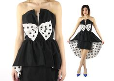 $86, Vintage 80s Party Dress Tuxedo Prom Cocktail Gown Black Satin Polka Dots 1980s x-small xs by ScarletFury on Etsy
