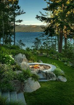 hybrid log home with breathtaking views of Lake Tahoe Rocky Point South, Lake Tahoe - perfect rustic cabin viewRocky Point South, Lake Tahoe - perfect rustic cabin view Fire Pit Backyard, Backyard Patio, Landscape Designs, Landscape Architecture, Outdoor Fire, Outdoor Living, Outdoor Spaces, Lake Landscaping, Landscaping Ideas