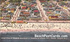 Aerial View of Beach and Boardwalk at Hamilton & Lincoln Ave., Seaside Heights, NJ Ca. 1940s