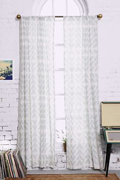 """Assembly Home Moa Double-Arrow Curtain These come in either """"84 or """"96, so will need to be hemmed I imagine."""