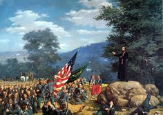 1863 - Absolution Under Fire - Father Corby Blesses the Irish Brigade at Gettysburg, July 2 American Civil War, American History, American Soldiers, Gettysburg Battlefield, Civil War Art, Native American Images, Confederate States Of America, Military Art, Military History