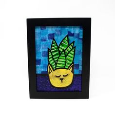 Succulent in Cat Planter Painting - Modern Succulent Still Life - Cat Lover - Succulent Lover Gift - Original Painting in Frame Yellow Cat, Blue Green, Original Art, Original Paintings, Purple Table, Handmade Stamps, Floral Wall Art, Colorful Paintings, Paint Markers
