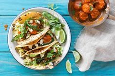 Shrimp tacos diablo with pickled cabbage and lime - gluten free, soy free