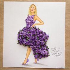 Armenian Fashion Illustrator Creates Stunning Dresses From Everyday Objects Dress Design Sketches, Fashion Design Drawings, Fashion Sketches, Dress Designs, Arte Fashion, Floral Fashion, Stunning Dresses, Nice Dresses, Amazing Dresses