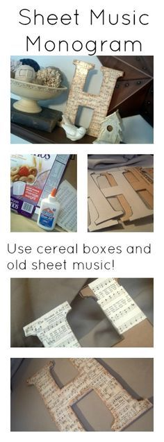 Make a sheet music monogram from cereal boxes and old sheet music!