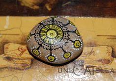 mini painted stone by Unicatella Pebble Painting, Pebble Art, Stone Painting, Rock Painting, Painted Rocks, Hand Painted, Mandala Rocks, Sticks And Stones, Stone Crafts