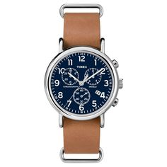 Timex Weekender Slip Thru Leather Strap Chronograph Watch - Tan/Blue TW2P62300JT