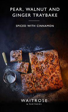 Our pear, walnut and ginger traybake makes a delicious seasonal bake. Tray Bake Recipes, Baking Recipes, Cake Recipes, Dessert Recipes, Just Desserts, Delicious Desserts, Yummy Food, Waitrose Food, Tray Bakes