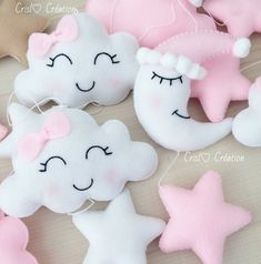 Items similar to Smiling cloud mobile on Etsy Baby Bedroom, Baby Room Decor, Baby Crib Bedding, Felt Crafts, Diy And Crafts, Crochet Mobile, Cloud Mobile, Baby Shawer, Pink Clouds