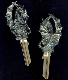 everyone needs their own dragon to keep their castle safe...this one can lock the door when you're away and open it to welcome you home.  can be cut to your own lock by any professional locksmith. #keystomycastle.com