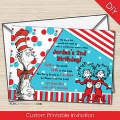 Dr Seuss Cat in the Hat Birthday Invitation  by PupiloftheWorld, $12.00