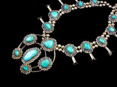 MAGNIFICENT 206g Vintage Old Pawn Navajo Sterling Silver Squash Blossom Necklace w Beautiful Blue Gem Turquoise and AWESOME Silver Work
