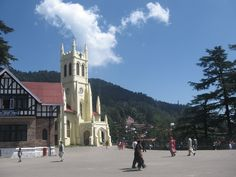 The Christ Church of Shimla. Famous for its stained glass windows made by Rudyard Kipling's father - Mr. Lockwood Kipling.  Te ground to its front is called The Ridge of Shimla - the only open space in the town and has a huge water resevior under it with the capacity of 10,19, 000 gallons of water.
