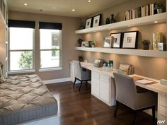 Love this for a home office and guest room. Work Space Whit… Love this for a home office and guest room. Work Space White Modern feminine home office decor. Home decor, office decor, office decor inspiration, office ideas, o Home Office Space, Home Office Design, Home Office Decor, House Design, Home Decor, Office Designs, Office Spaces, Office Style, Home Office Lighting