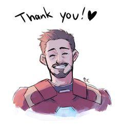 Smiling thankful Tony Stark - art by dchanberry