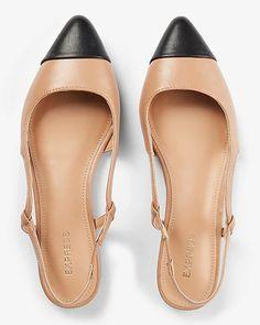 Toe Cap Slingback Ballet Flats
